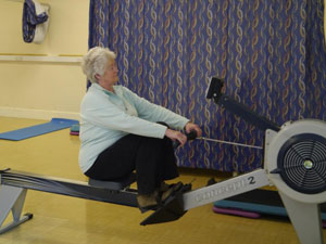 woman on rowing machine South West Yorkshire Partnership NHS Foundation Trust