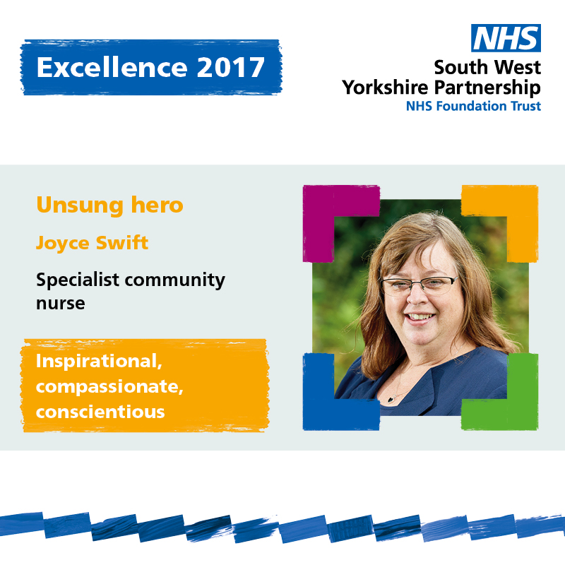 Excellence winner Joyce Swift South West Yorkshire Partnership NHS Foundation Trust