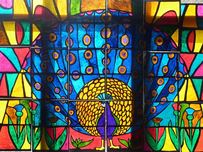 stained glass window of a peacock South West Yorkshire Partnership NHS Foundation Trust