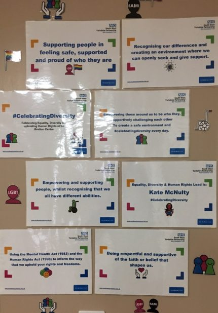 Celebrating diversity display South West Yorkshire Partnership NHS Foundation Trust