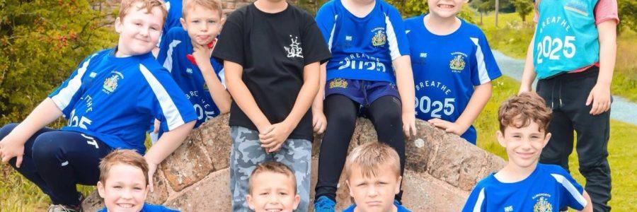 Children on a walk bench
