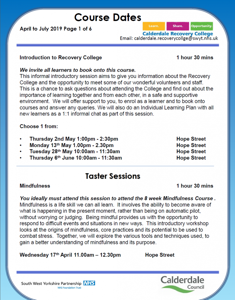 Calderdale Recovery college April - June Dates