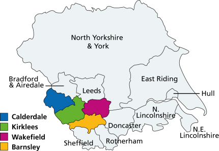 Location Map of the Geography of SouthWest Yorkshire NHS Foundation Trust