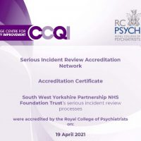 Read more: Royal College of Psychiatrists accredits Trust's serious incident review process